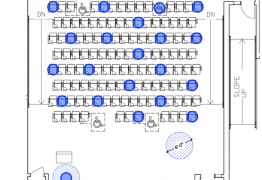 Alternative seating chart representing socially distanced seating for Rutgers Academic Building 1170