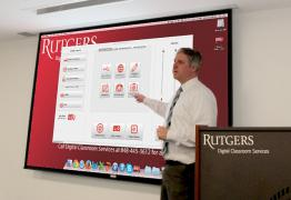 Dan Bello demonstrates how to use Rutgers Room Control.