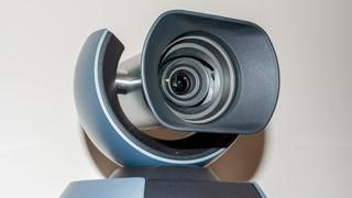 A camera used for video conferencing.