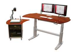 The Collaborative Instructor Hub includes a height-adjustable table and a side car.