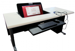 The Digital Classroom Flip-Top is housed within the instructor table.